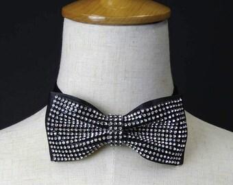 Black bowtie, Rhinestones bowtie, wedding bowtie, bowties, groom bow tie, groomsmen bow tie BT15009