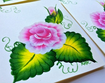 Hand Painted Roses Greeting Cards - Set of 4 - Blank Inside