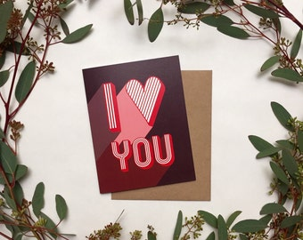 """Mid Century Modern 70's style """"I Love You"""" Greeting Card"""