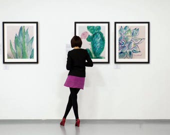 set of 3 art prints, cactus watercolor, nursery art prints, floral illustration, living room wall decor, kitchen wall art, green plant art