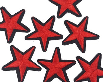 Iron On Red Embroidered STARS Patch Appliques, Hot Fix Stars 5 PCS