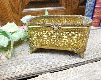 Vintage Gold Filigree Trinket Box