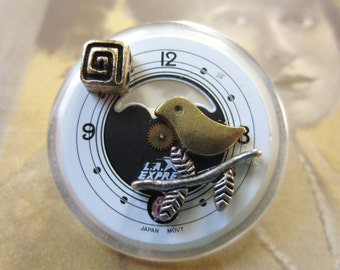 Bird Time Brooch