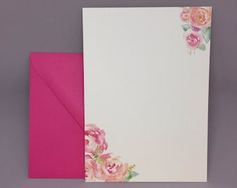 Pink Watercolor Floral Invitations (Set of 10)