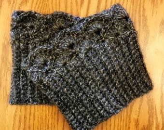 Charcoal Tweed Boot Cuffs, Boot Toppers
