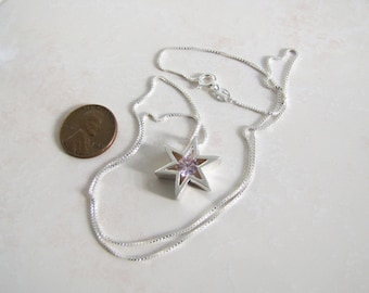 Star of David sterling silver necklace, Pink Sapphire star