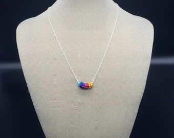 Sterling silver plated necklace with rainbow Mykonos ceramic beads