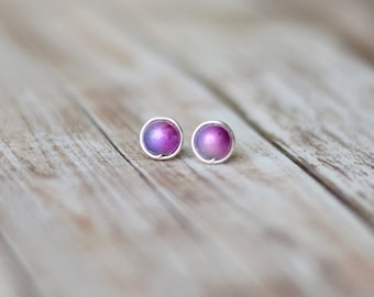 Stud earrings - Pink purple post earrings - Minimalist earrings - Bridesmaid earrings - Simple earrings - Everyday earrings - Pearl earrings