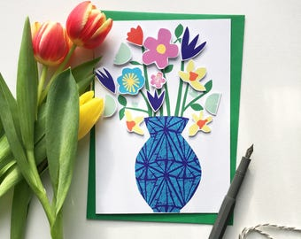 Vase of Flowers greetings card, with DIY cut-out design - craft project and birthday card, get well card, anniversary card all in one!