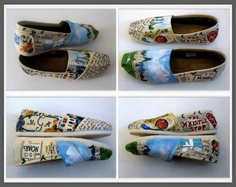 Bride's Love Story Wedding Reception Shoes Wedding Flats Painted Wedding TOMS Gift for the Bride Shoes for the Wedding Gift from the Groom