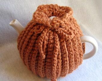 Crochet Tea Cosy Tea Pot Cozy - Teapot cozy crochet in clay color, thick wool blend