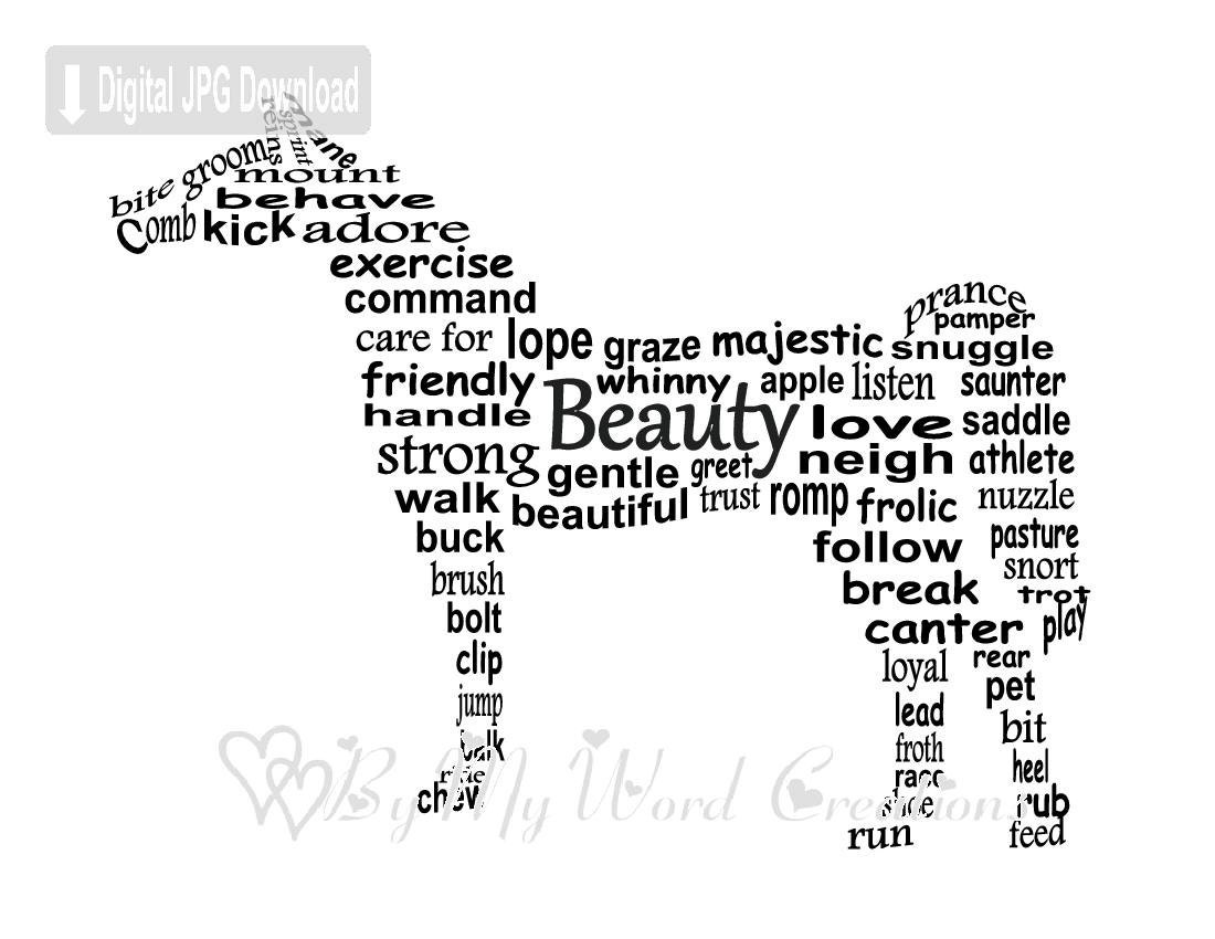 Y Horse Names Cheval Word Art...