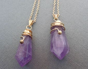 Amethyst Pendant Necklace /Amethyst Hexagon Point Necklace/Natural Amethyst Gold / Amethyst Point /February Birthstone /Purple Stone//GP48
