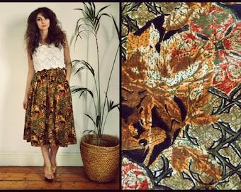 Vintage 90's Brown Autumnal Full High Waisted Grunge Midi Skirt Size Medium/Large