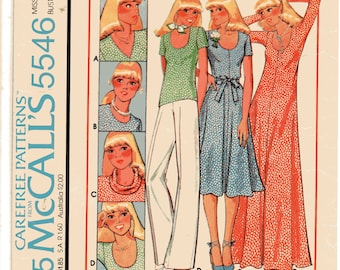 """Sewing Pattern, Vintage 1970s For Knits Only Dress and T-Shirt Pattern, McCalls 5546 Size 8, Bust 31 1/2""""(80cm), Free US Shipping"""