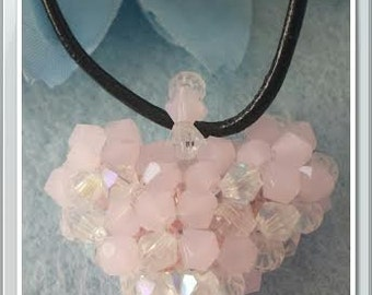 Pink and crystal heart Free shipping!