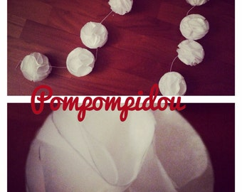Garland of flowers from tissue paper tassels, length 1 m with 7 tassels