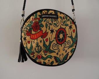 Vintage Tattoo Round Handbag - Rockabilly Swallow Anchor Sailor Nautical Clutch Bag