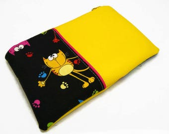 Clutch / zippered pouch, yellow with fun multicolored cats leatherette