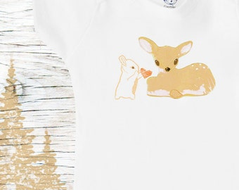Organic deer and bunny rabbit onesie, cute baby clothes
