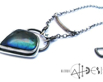 Blue yellow flashy labradorite pendant, modern oxidized necklace, sterling silver oval chain, star, geometric