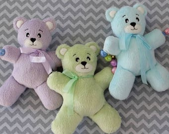 Soft Teddy Bear Baby Toy Made in the Hoop Machine Embroidery Design