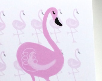 Flamingo Birthday Card, Have a Fabulous Birthday,  Doodle Birthday Card, made on recycled paper, comes with envelope and seal