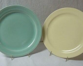 Vernon Kilns Plates Modern California Two Luncheon Plates Pistachio and Straw