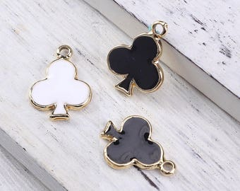 "10 charms ""Clover"" enameled metal Gold 1.8 cm / Poker / playing cards"