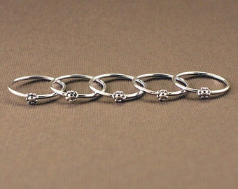Teeny Tiny Flower Rings (stack of 5-sterling)