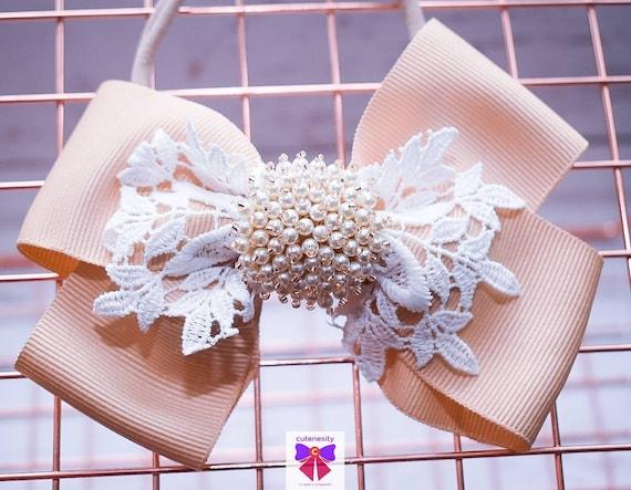 White and Beige Layered Bow with Rhinestone - Baby / Toddler / Girls / Kids Headband / Hairband / Hair bow / Barette / Hairclip / Wedding