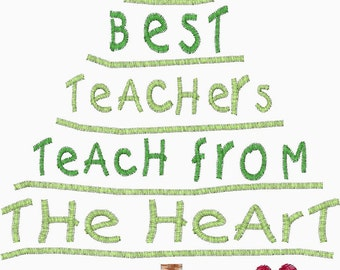 The Best Teachers teach from the heart Christmas Embroidery Design- 2nd picture is a sample stitch out