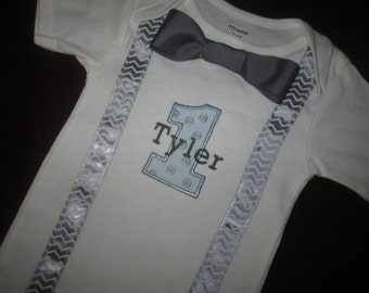 Bowtie Suspenders Onesie Number & Name Birthday Photoshoot Custom Personalized