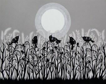 Welcoming The Winter Sun - 11 x 14 inch Cut Paper Art Print