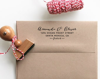 Address Stamp with calligraphy font - personalized for weddings, return address stamp and custom gift for holidays, housewarming