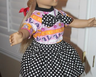 18in Doll Two Piece Outfit, Skirt and Top, Doll Clothing,