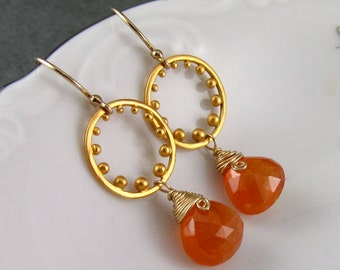 Mandarin garnet earrings, handmade 24k gold vermeil and spessartite gemstone earrings.
