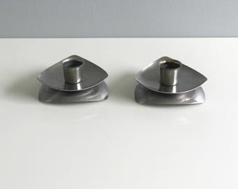 Pair of Stainless Steel Modern Candlestick Holders / Modern Candle Holders