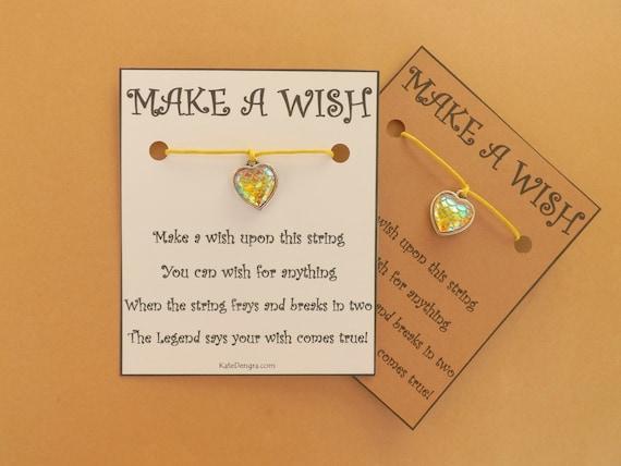 Irridescent Mermaid Scale Yellow Heart Ocean Inspired Wish Bracelet