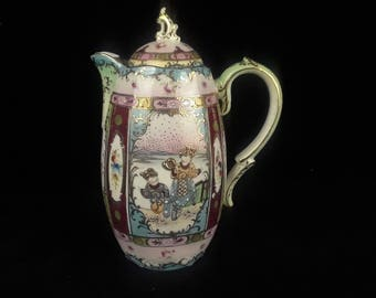 Antique Gilded Moriage Chocolate Pot - Japan -1880-1890