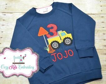 Truck Birthday Sweatshirt, Birthday Sweatshirt, Boys Birthday Sweatshirt, Third Birthday Sweatshirt, Truck Sweatshirt
