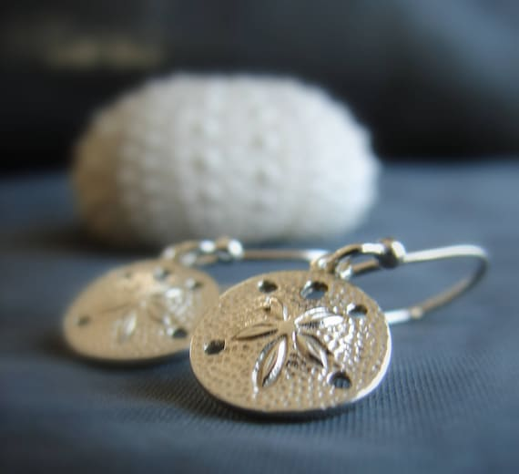 Little Sand Dollar sterling silver earrings