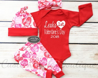 Baby Girls First Valentine's Day Outfit, Customized Name,Heart Pattern Leggings,Hat and Headband,Baby Girl Coming Home Outfit, 1st Valentine