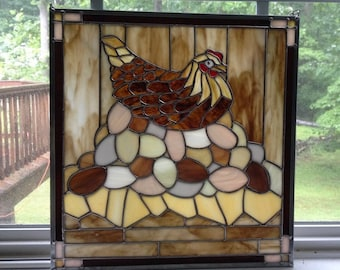 "Stained Glass ""Poulet du Guerre"" - The Mightiest Hen on the Farm"