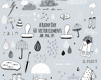 a rainy day. handdrawn vector design elements. photoshop brushes / digital stamps/ Doodles/ Clipart .png and .abr