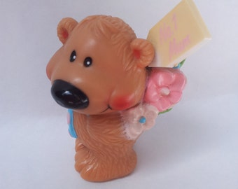 No 1 Mum Bear Toy Figure with Flowers Gift