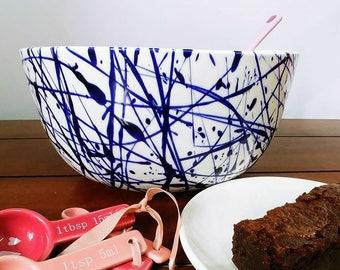 Ceramic Large Hand Painted Kitchen Bowl Custom Colours Splatter Baking Bowl Dish Personalised Kitchen Bowl
