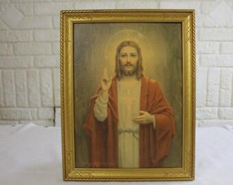 Mid Century Jesus   Sacred Heart Portrait by Bosseron Chambers Framed   Vintage 1956 Edward Gross Litho Print   Catholic Christian Arts