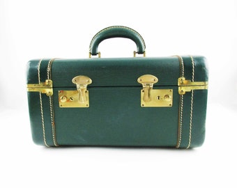 A Loden Green Train Case - Leather-trimmed Overnighter - Leather Inside Straps - Sage Green Lining - Hard Body - Cosmetic Case
