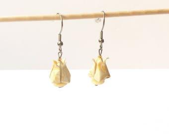 Origami Lotus, lotus, stainless steel hooks, stainless steel hooks button earrings